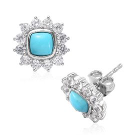 Arizona Sleeping Beauty Turquoise (Cush), Natural Cambodian Zircon Stud Earrings (with Push Back) in