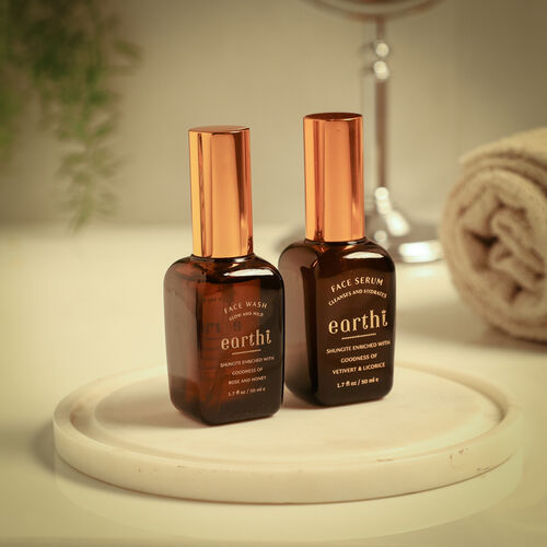Shungite Enriched Earthi Vetiver and Licorice Face Serum with Complementary Rose Face Wash (50ml+50ml)