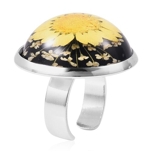 Pressed Yellow Dried Flower Adjustable Ring in Silver Tone