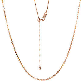 Adjustable Bead Slider Chain in Rose Gold Plated Sterling Silver 24 Inch