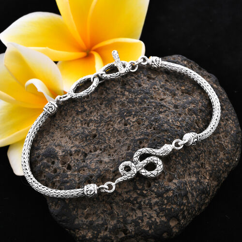 Royal Bali Collection - Sterling Silver Snake Tulang Naga Toggle Bar Bracelet (Size 7.5 with Extender), Silver wt 10.70 Gms
