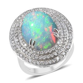 RHAPSODY 950 Platinum AAAA Ethiopian Welo Opal (Ovl), Diamond (VS/E-F) Ring 8.75 Ct, Platinum wt. 13