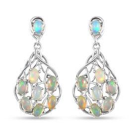 Ethiopian Welo Opal Drop Earrings in Platinum Overlay Sterling Silver 2.50 Ct.