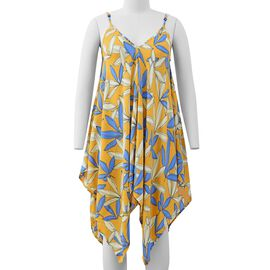 Yellow V-Neck Slip Dress with Blue Colour Leaf Pattern