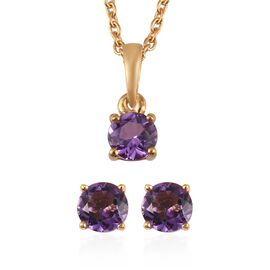 Set of 2 -  Amethyst Stud Earrings and Pendant with Chain (Size 18) in 14K Yellow Gold Overlay Sterl