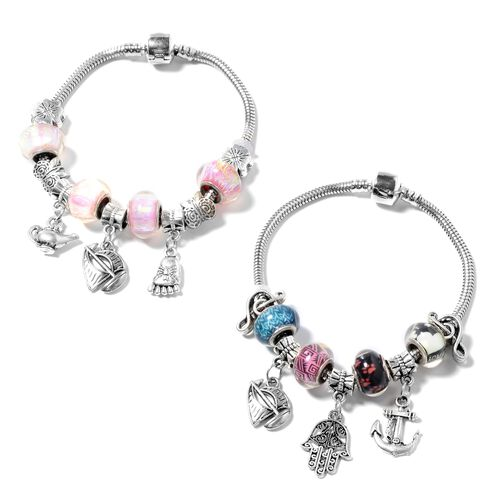 One Time Deal - Set of 2 - Multi Colour Austrian Crystal and Multi Colour Murano Style Glass Bracelet (Size 7.50) with Multi Charm in Black Oxidised Silver Plated.