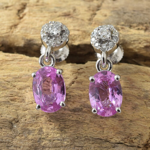 ILIANA 18K White Gold AAAA Pink Sapphire (Ovl 1.75 Ct), Diamond (SI/G-H) Earrings (with Screw Back) 2.000 Ct