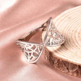 LucyQ Rhodium Overlay Sterling Silver Filigree Ring