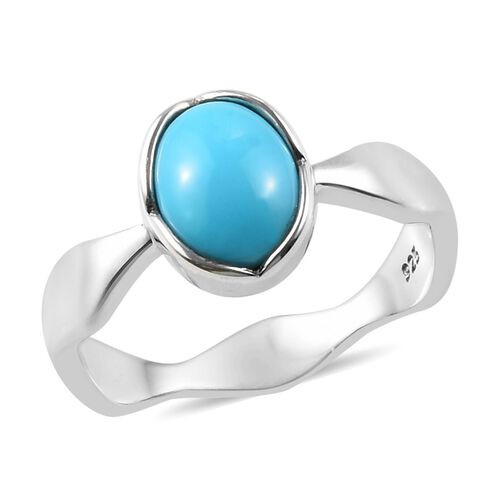 1 Carat Arizona Sleeping Beauty Turquoise Solitaire Ring in Platinum Plated Sterling Silver