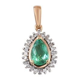ILIANA 18K Yellow Gold AAA Boyaca Colombian Emerald and Diamond (SI/G-H) Pendant 0.97 Ct.