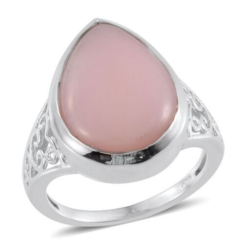 Peruvian Pink Opal (Pear) Solitaire Ring in Platinum Overlay Sterling Silver 6.750 Ct.