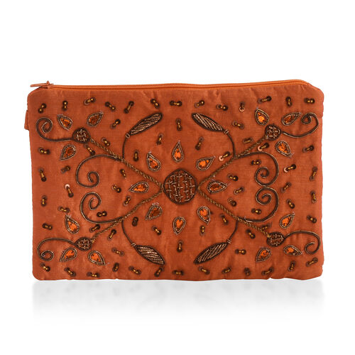 New Season Hand Stitched Orange Satin Bag with Golden Beads (Size 22x15 Cm)