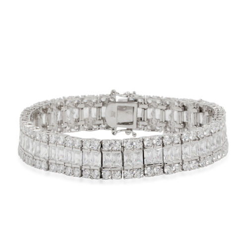 ELANZA Simulated White Diamond (Oct) Bracelet (Size 7.5) in Rhodium Plated Sterling Silver.Silver Wt 34.50 Gms Number of Simulated Diamonds 180