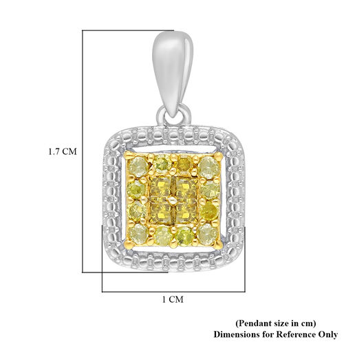 Yellow Diamond Pendant in Platinum Overlay Sterling Silver 0.33 Ct.