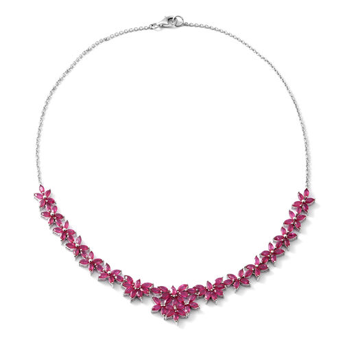 14.85 Ct African Ruby Floral Necklace in Rhodium Plated Sterling Silver 19.5 Grams