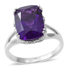 Lusaka Amethyst (Cush 6.04 Ct), Natural White Cambodian Zircon Ring in Rhodium Plated Sterling Silve