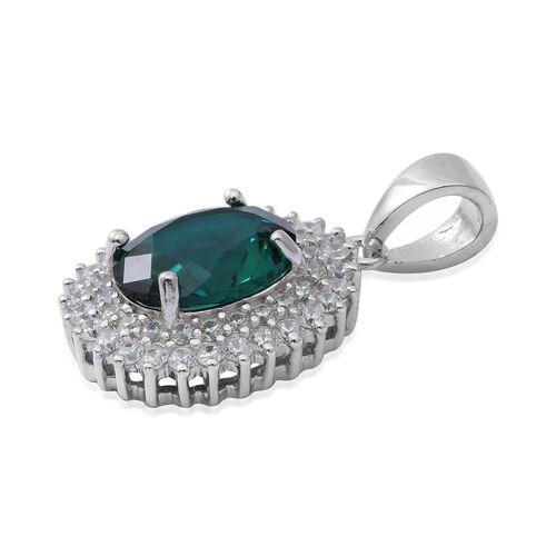 ELANZA Simulated Emerald (Ovl), Simulated Diamond Pendant in Rhodium Overlay Sterling Silver
