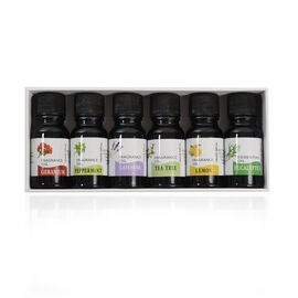 6 Piece Set - Essential Oil - 10ml Per Bottle Includes Lavender, Teatree, Eucalyptus, Lemon, Geraniu
