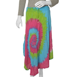Designer Inspired- Green and Multi Colour Tie and Dye skirt (Free Size)