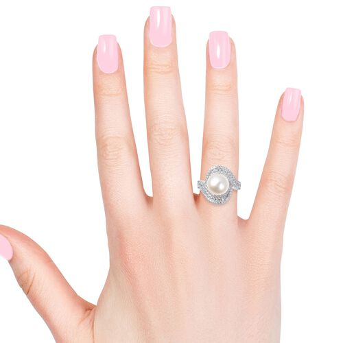 White South Sea Pearl (Rnd), Natural White Cambodian Zircon Swirl Ring in Rhodium Overlay Sterling Silver 1.611 Ct.