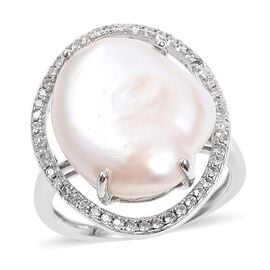 Freshwater Pearl and Natural White Cambodian Zircon Ring in Rhodium Overlay Sterling Silver