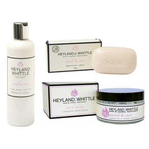 Heyland & Whittle: Neroli & Rose Body Scrub, Organic Bar & Body Lotion