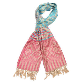 Designer Inspired-Rose, Blue and Multi Colour Floral Pattern Scarf with Fringes (Size 180x70 Cm)