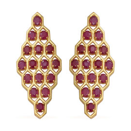 16.67 Ct African Ruby Cluster Earrings in Gold Plated Sterling Silver