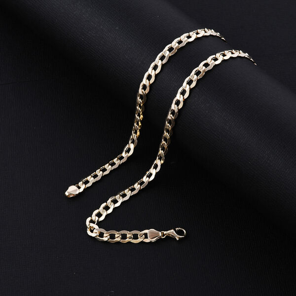 Italian Made 9K Yellow Gold Curb Necklace (Size 18), Gold Wt. 10.26 Gms