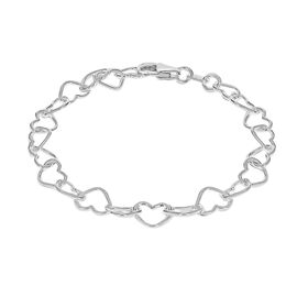 Sterling Silver Heart Link Bracelet (Size 7.5)