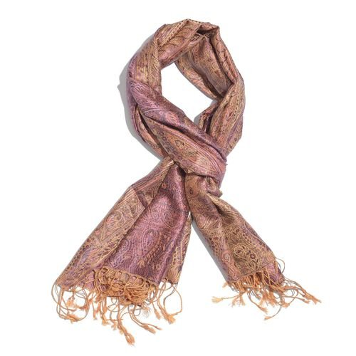 SILK MARK - 100% Superfine Silk Purple, Gold and Multi Colour Jacquard Jamawar Scarf with Tassels (Size 180x70 Cm) (Weight 125 - 140 Gms)