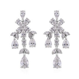 J Francis Made with Swarovski Zirconia Chandelier Earrings in Sterling Silver 5.5 Grams