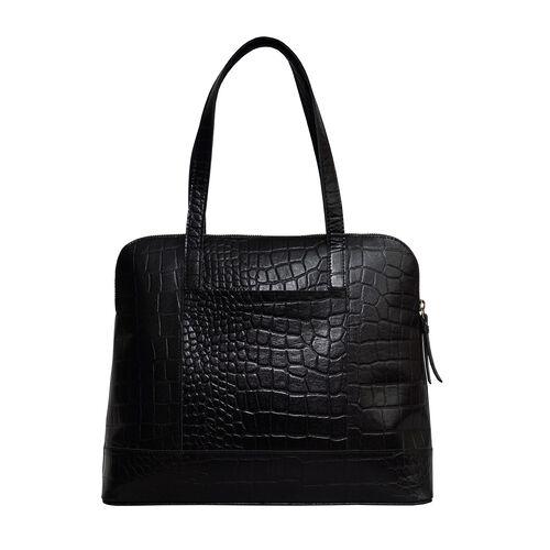 Assots London EVA 100% Genuine Leather Croc Embossed Handbag - Black