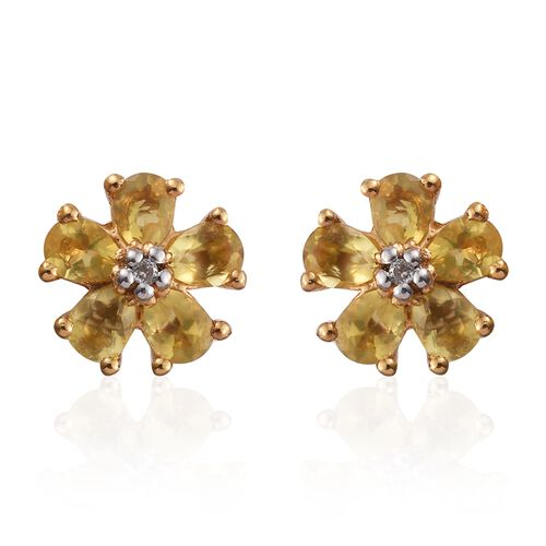 Natural Canary Opal (Pear), Natural Cambodian Zircon Floral Stud Earrings (with Push Back) in 14K Gold Overlay Sterling Silver 1.000 Ct.