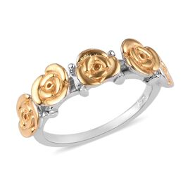 Platinum and Yellow Gold Overlay Sterling Silver Rose Ring