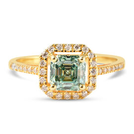 Blue Moissanite (Asscher Cut) and White Moissanite Ring in Yellow Gold Overlay Sterling Silver 1.38