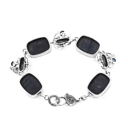 Bali Legacy Collection - Blue Labradorite (Cush), Swiss Blue Topaz and Natural Cambodian Zircon Frog Link Bracelet (Size 7.25) in Sterling Silver 56.33 Ct, Silver wt 15.30 Gms