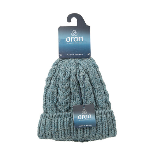 Aran 100% Pure Woollen Mills Cable Irish Hat in Blue Colour (One Size)