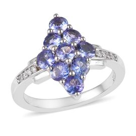 1.50 Ct Tanzanite and Cambodian Zircon Cluster Ring in Platinum Plated Sterling Silver