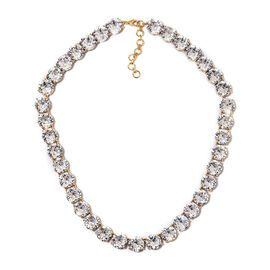 J Francis - Crystal from Swarovski White Colour Crystal (Rnd) Necklace (Size 18 with 1.5 inch Extend