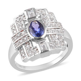 PremiumTanzanite and Natural Cambodian Zircon Ring in Platinum Overlay Sterling Silver 1.05 Ct.