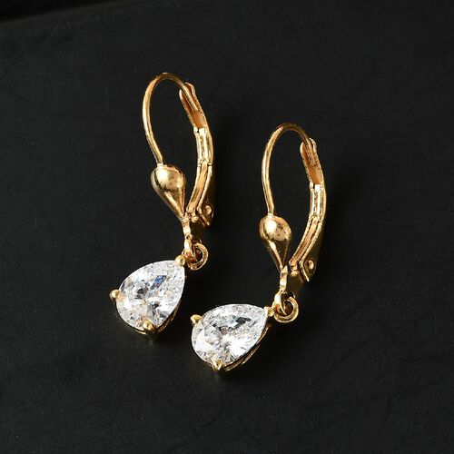 J Francis 14K Gold Overlay Sterling Silver Lever Back Drop Earrings Made with SWAROVSKI ZIRCONIA 2.23 ct.