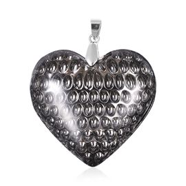 Simulated Grey Spinel Heart Solitaire Pendant in Rhodium Plated Sterling Silver