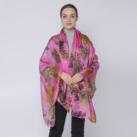 LA MAREY 100% Mulberry Silk Abstract Pattern Womens Scarf (Size:175x110Cm) - Pink