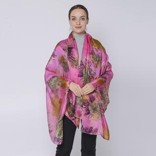LA MAREY Mulberry Silk Printed Scarf - Pink