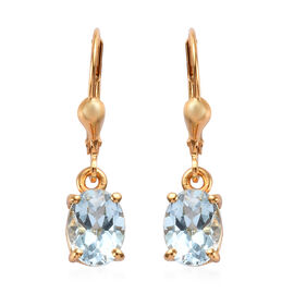 2.75 Ct Sky Blue Topaz Lever Back Solitaire Earrings in Gold Plated Sterling Silver