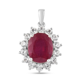 Premium African Ruby (FF) and Natural Cambodian Zircon Pendant in Platinum Overlay Sterling Silver 8