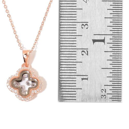 Designer Inspired-ELANZA AAA Simulated White Diamond Pendant With Chain in Rose Gold Overlay Sterling Silver, Silver wt 3.80 Gms.