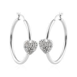 GP Diamond (Bgt), Kanchanaburi Blue Sapphire Heart Hoop Earrings (with Clasp) in Platinum Overlay Sterling Silver 0.560 Ct.