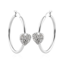 GP Diamond (Bgt), Kanchanaburi Blue Sapphire Heart Hoop Earrings (with Clasp) in Platinum Overlay St